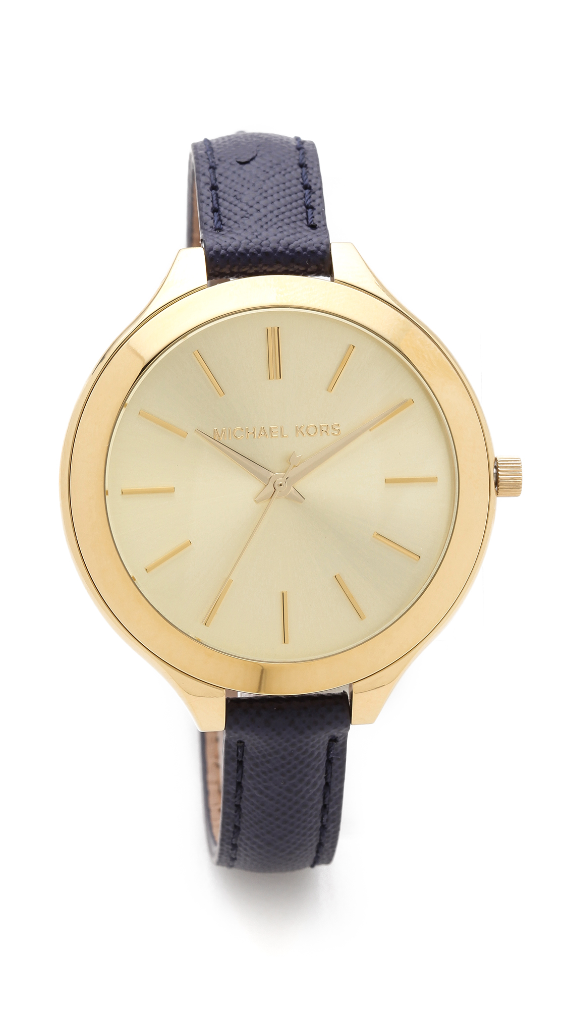 Michael kors leather slim runway watch in gold lyst for Watches michael kors