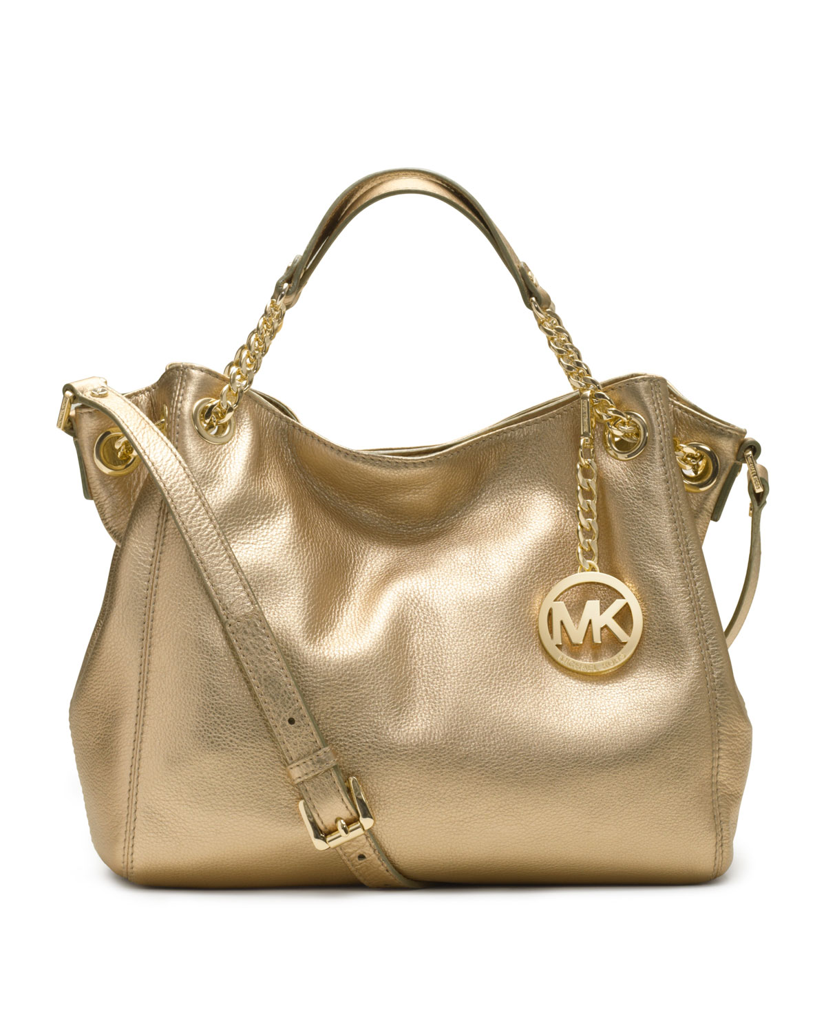 1c787b7708e9 Lyst - Michael Kors Medium Jet Set Gathered Shoulder Tote in Metallic