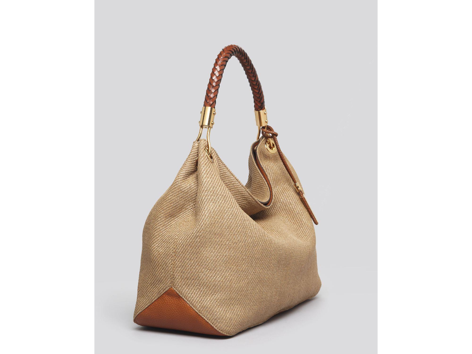 Lyst - Michael Kors Large Shoulder Bag Skorpios Woven in Natural fdb9f7ee14b8f