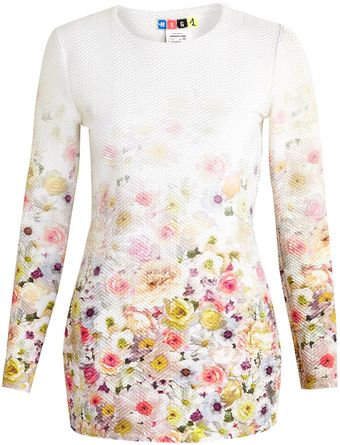 MSGM Tubed Floral Long Sleeve Dress - Lyst