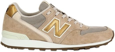 New Balance 996 Suede and Mesh Running Sneakers in Multicolor (beige/gold)