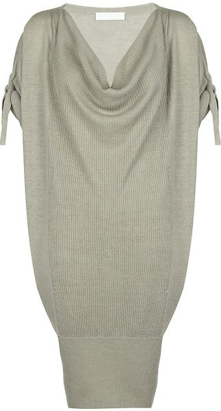 Nicole Farhi Linen Draped Knit Dress - Lyst