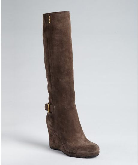 prada prada sport brown suede wedge boots in brown lyst