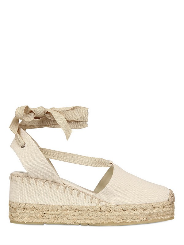 ralph lauren canvas espadrille wedges in natural lyst. Black Bedroom Furniture Sets. Home Design Ideas