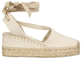 Ralph Lauren Canvas Espadrille Wedges - Lyst