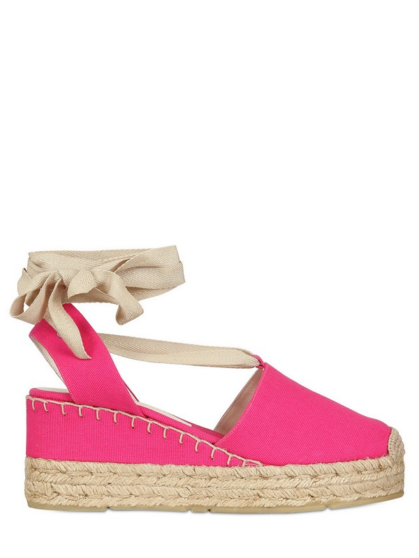 ralph lauren canvas espadrille wedges in pink lyst. Black Bedroom Furniture Sets. Home Design Ideas