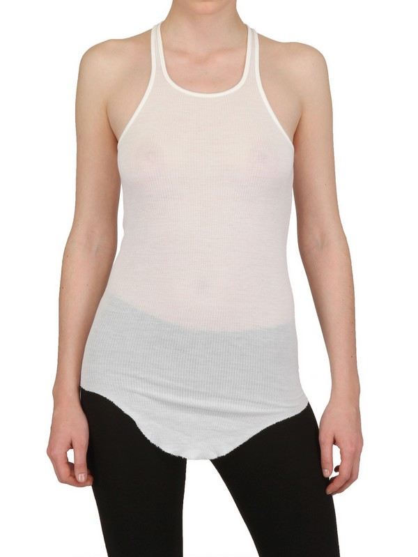 2a2c5d3112276 Lyst - Rick Owens Silk Viscose Ribbed Tank Top in White