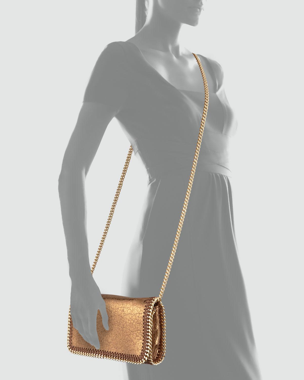 stella mccartney crackled metallic crossbody bag in