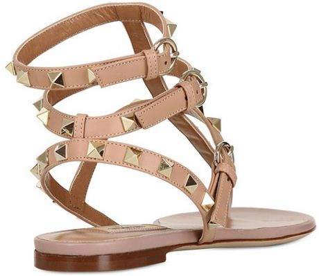 Valentino Rock Stud Sandals In Beige Nude Lyst