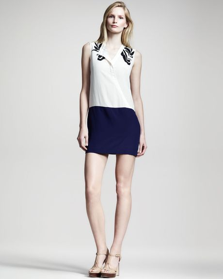 10 Crosby By Derek Lam Colorblock Silk Dress in Blue (twilight cmb/ blk) - Lyst