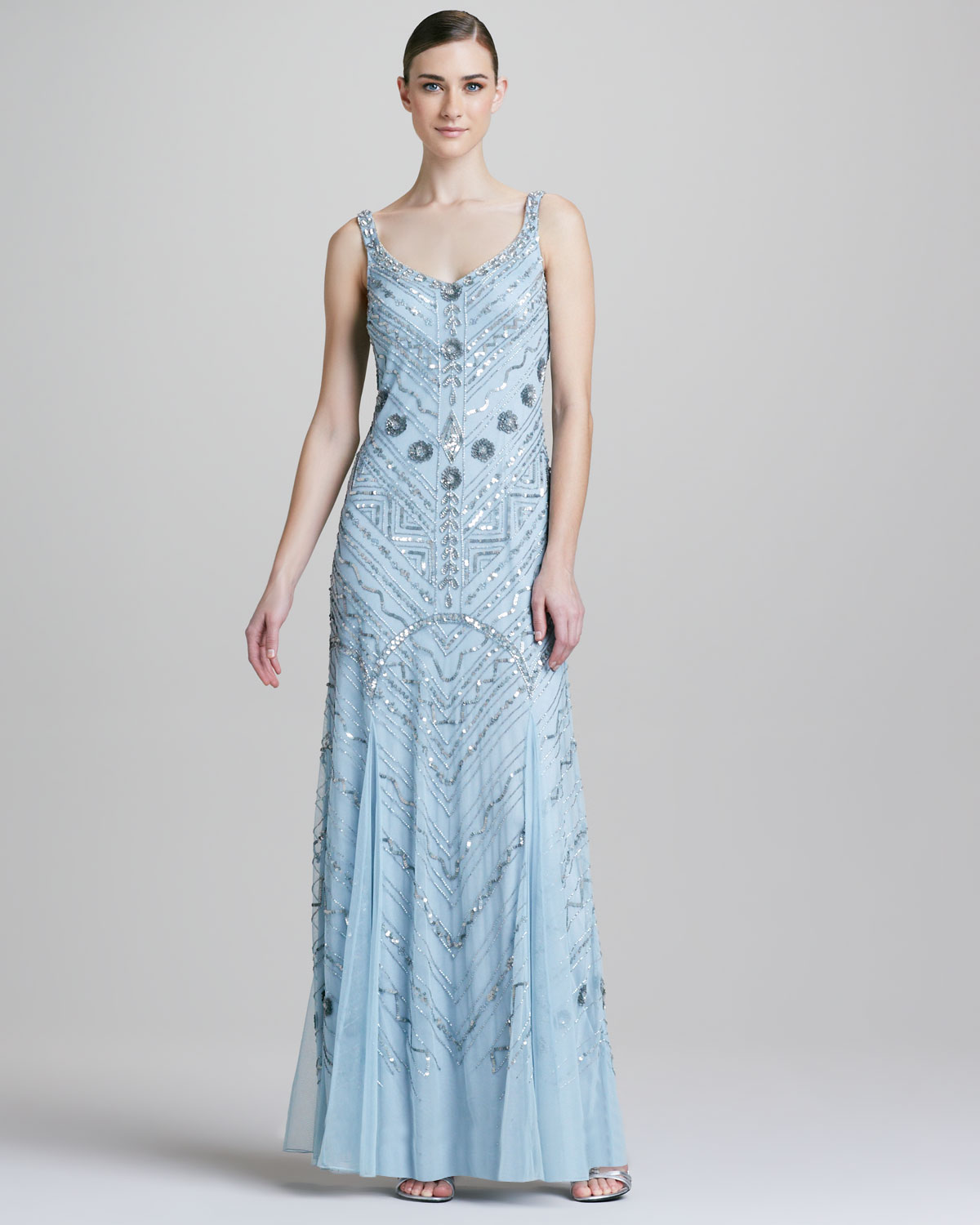 Lyst - Aidan Mattox Beaded Scoopneck Chiffon Gown in Blue