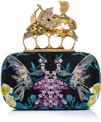 Alexander McQueen Hummingbird Embroidered Box Clutch - Lyst