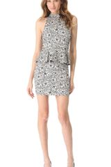 Alice + Olivia Lace Peplum Halter Dress - Lyst
