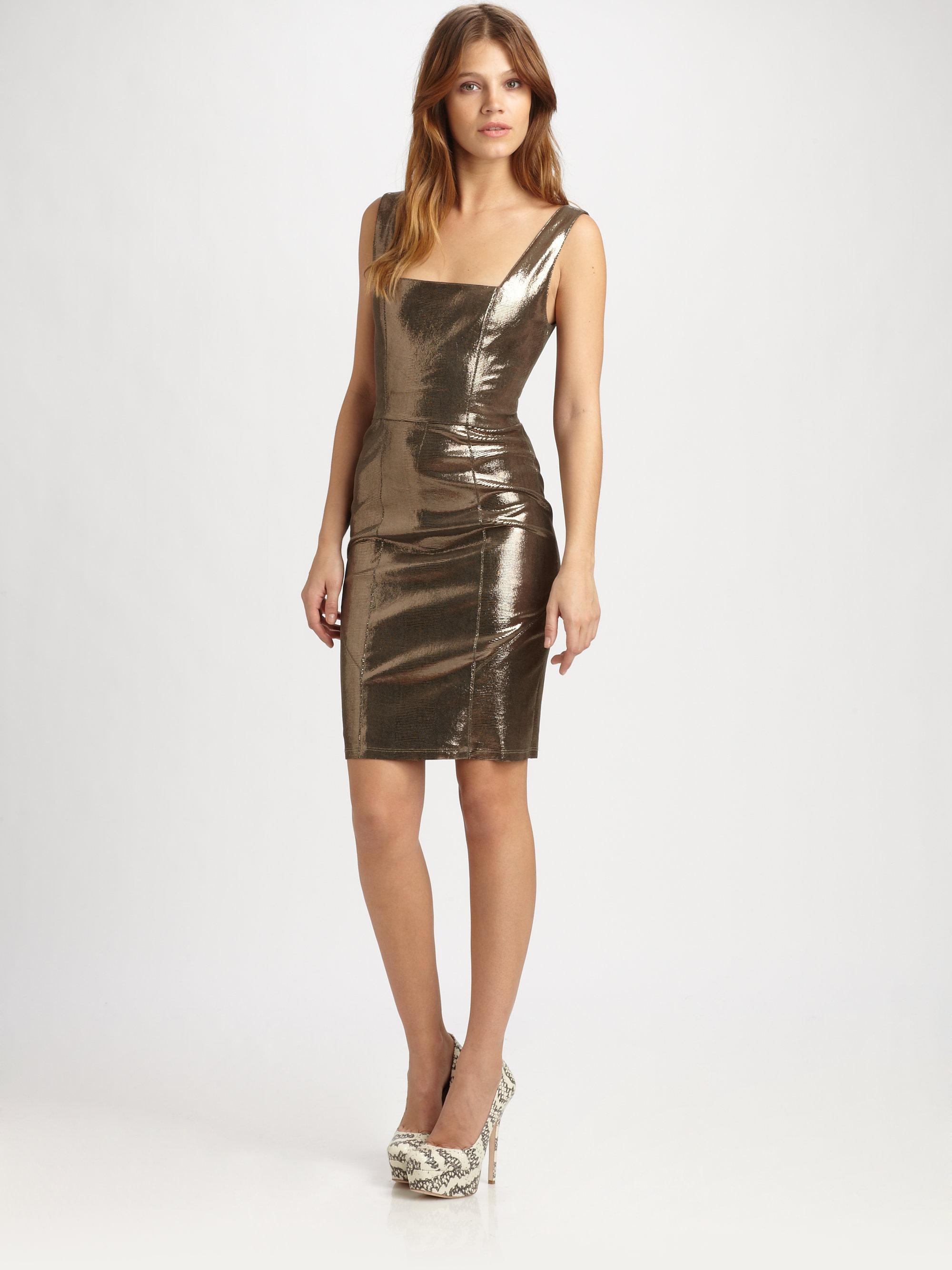 Lyst Alice Olivia Norah Metallic Leather Dress In Metallic
