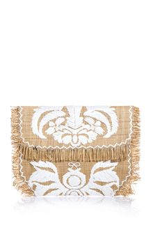 Anya Hindmarch Straw Raffia Embroidered Clutch - Lyst