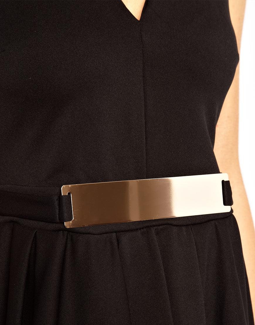 asos asos structured skater dress with gold belt in black