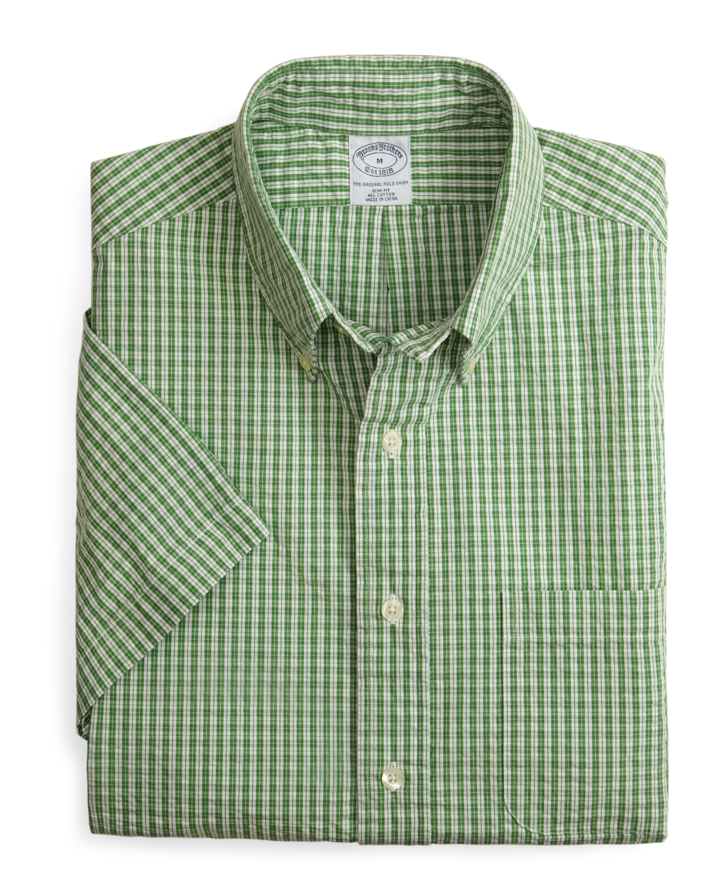 Brooks brothers allcotton slim fit shortsleeve green check Brooks brothers shirt size guide