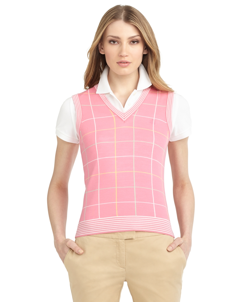 Lyst Brooks Brothers Intarsia Sweater Vest In Pink