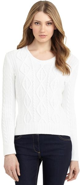Brooks Brothers Aran Cable Sweater - Lyst
