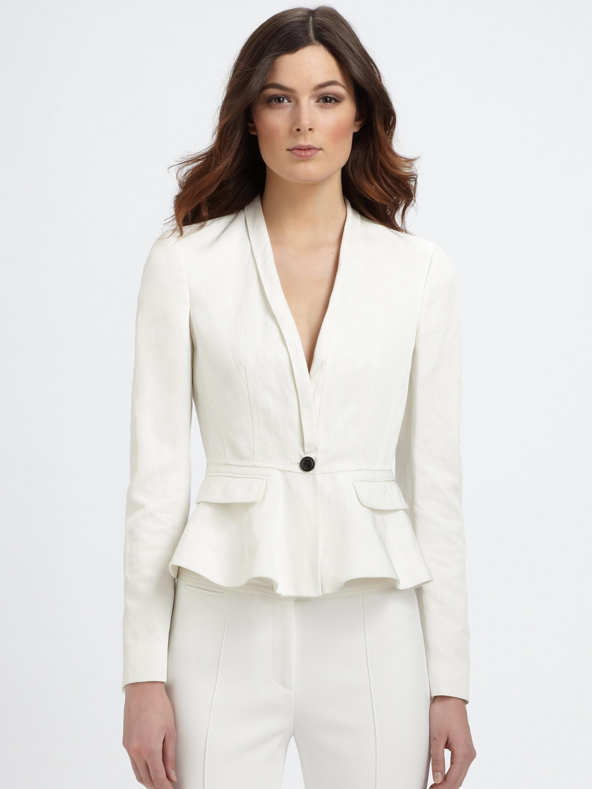 Lyst Burberry Peplum Jacket In White