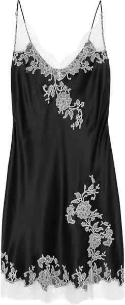 Carine Gilson Lace Appliqué Silk-satin Chemise in Black - Lyst
