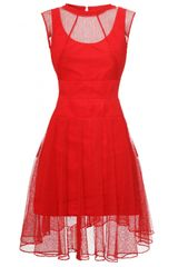 Carven Robe Dentelle Lace Dress Red
