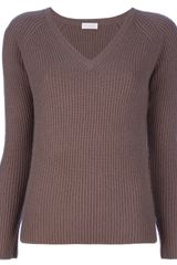 Cruciani Ribbed V-neck Jumper - Lyst