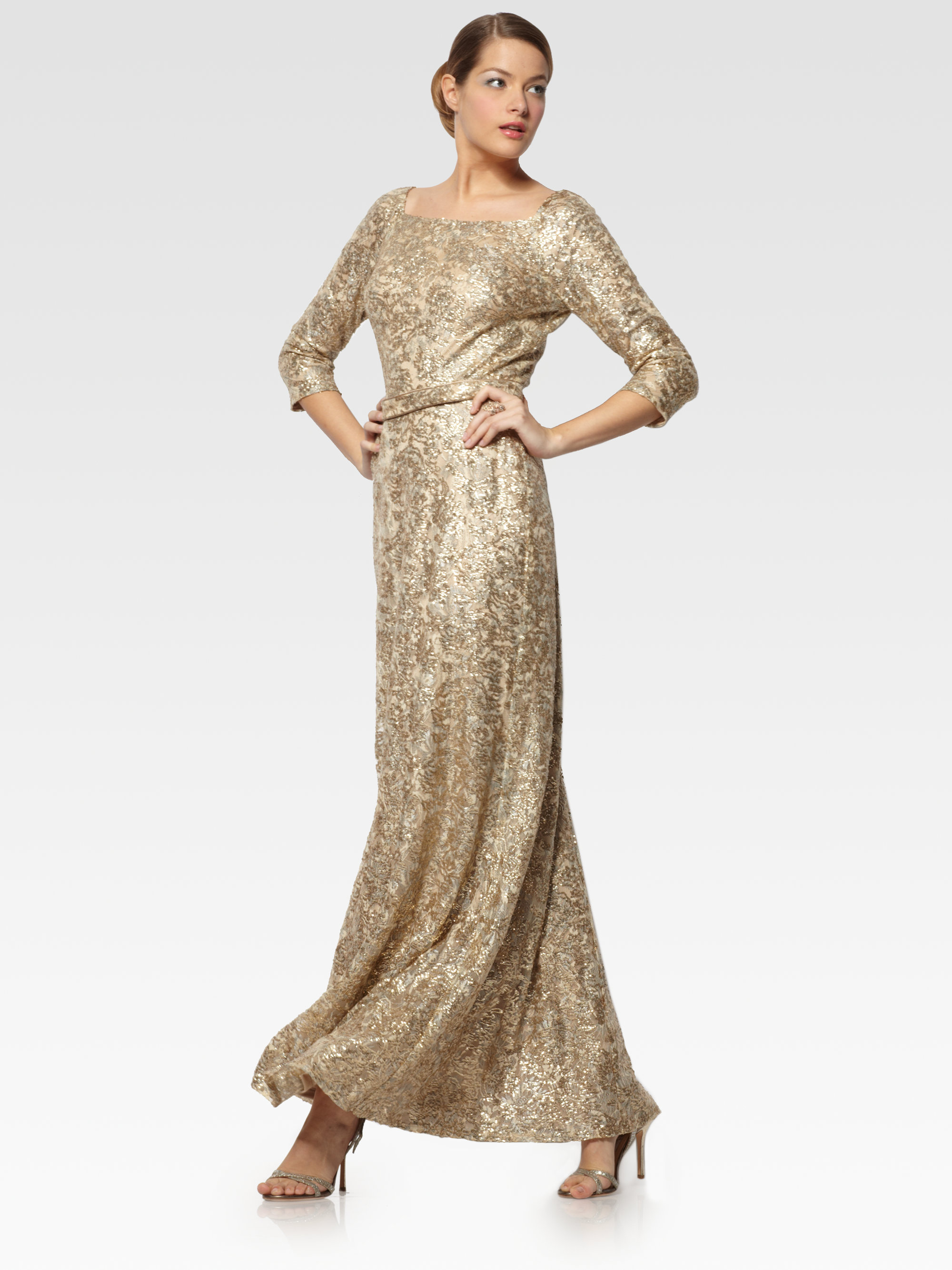 Lyst - David Meister Metallic Lace Gown in Metallic