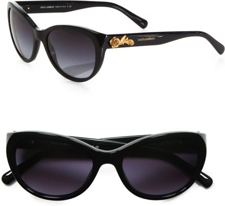 4f7098efdf6 Dolce   Gabbana Rose Embellished Catseye Sunglasses in Black