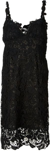 Ermanno Scervino Embroidered Lace Dress in Black