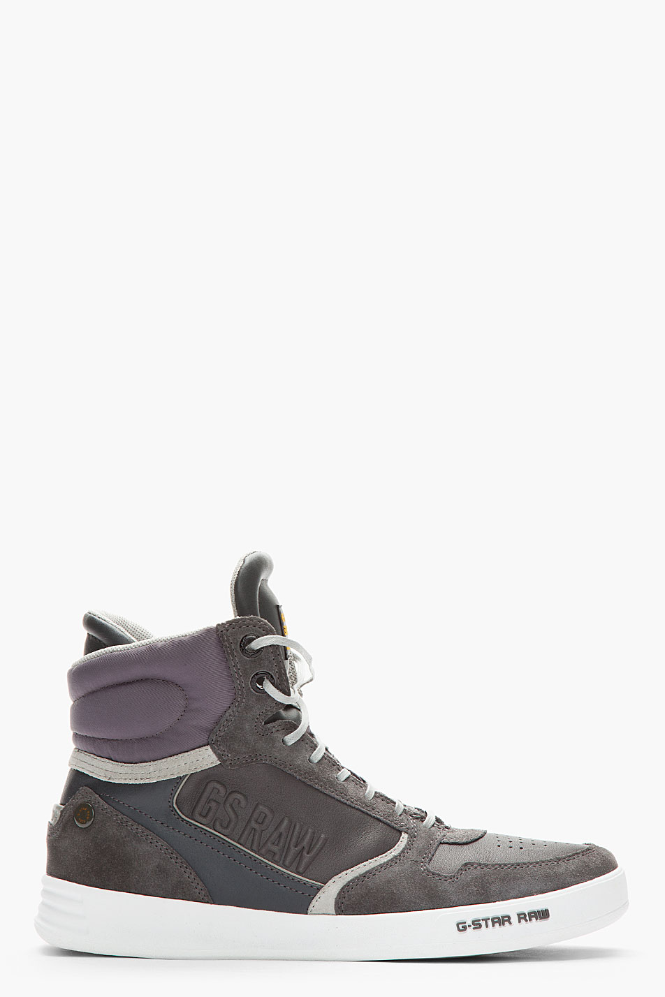g star raw l leather suede yard pyro sneakers in gray for men charcoal lyst. Black Bedroom Furniture Sets. Home Design Ideas