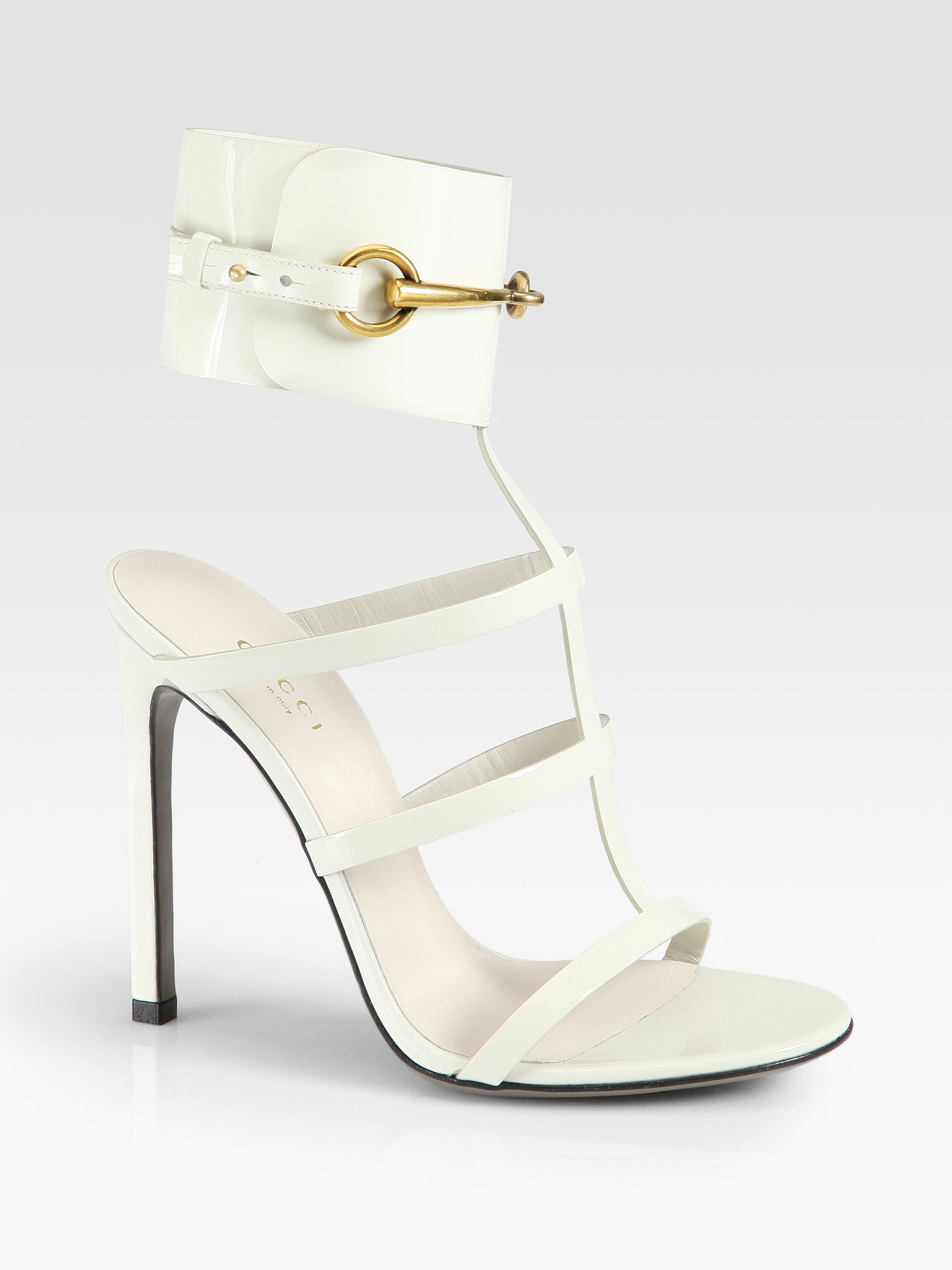 cba05cb3429720 Lyst - Gucci Ursula Patent Leather Horsebit Ankle Strap Sandals in Pink