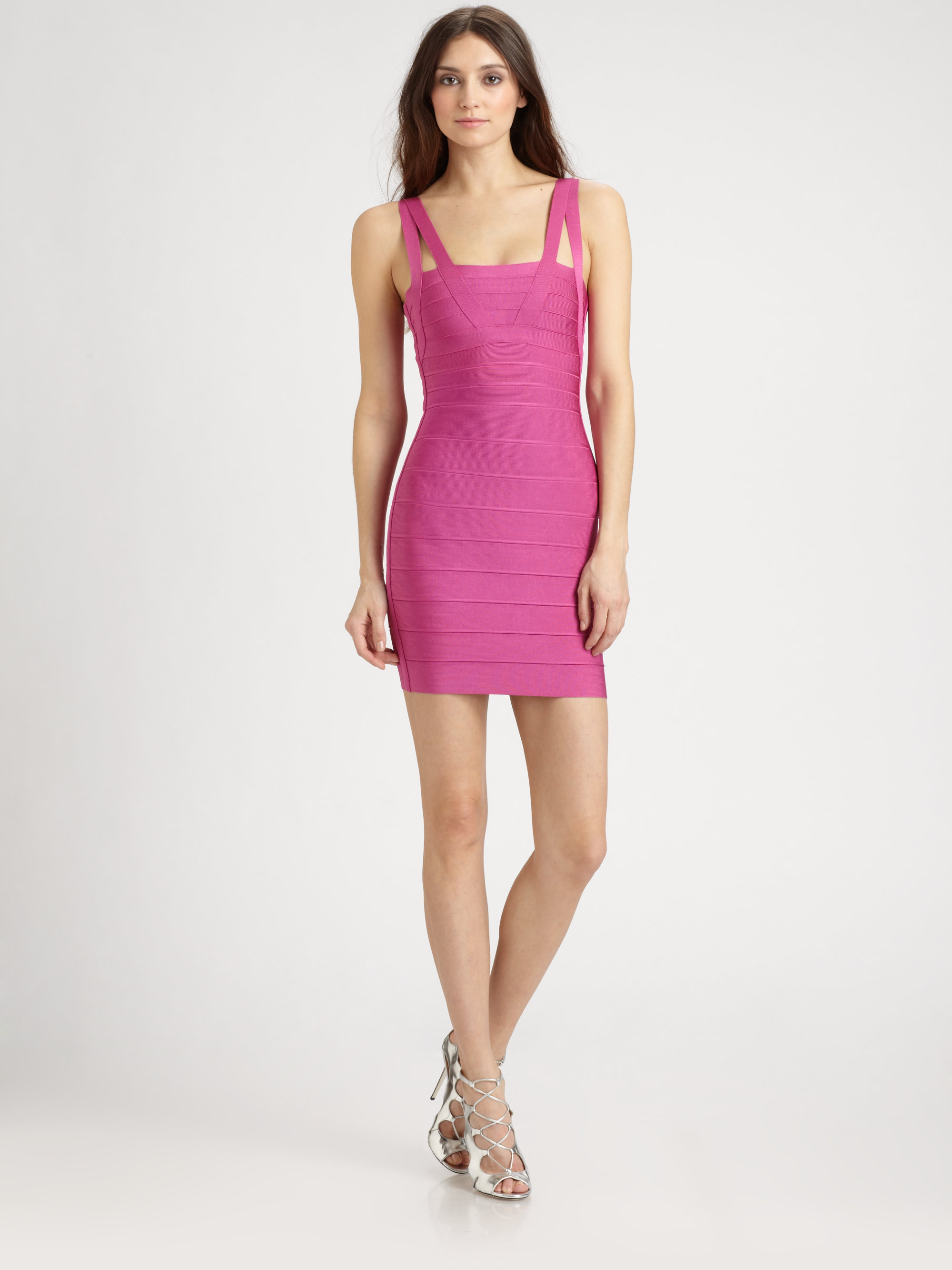 Lyst Herv 233 L 233 Ger Zinnia Bandage Dress In Pink