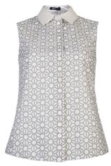 Jil Sander Navy Sleeveless Print Shirt - Lyst