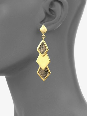 Kara By Kara Ross 14k Goldplated Snake Skin Inlaid Earrings - Lyst