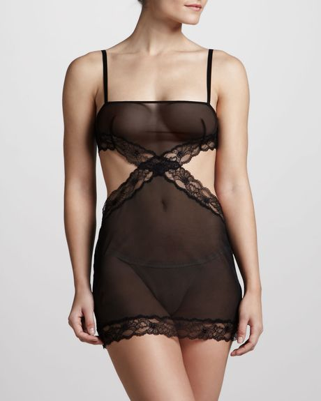 La Perla Blind Date Cutout Chemise in Black - Lyst