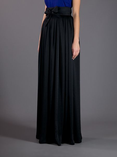 lanvin pleated maxi skirt in black lyst