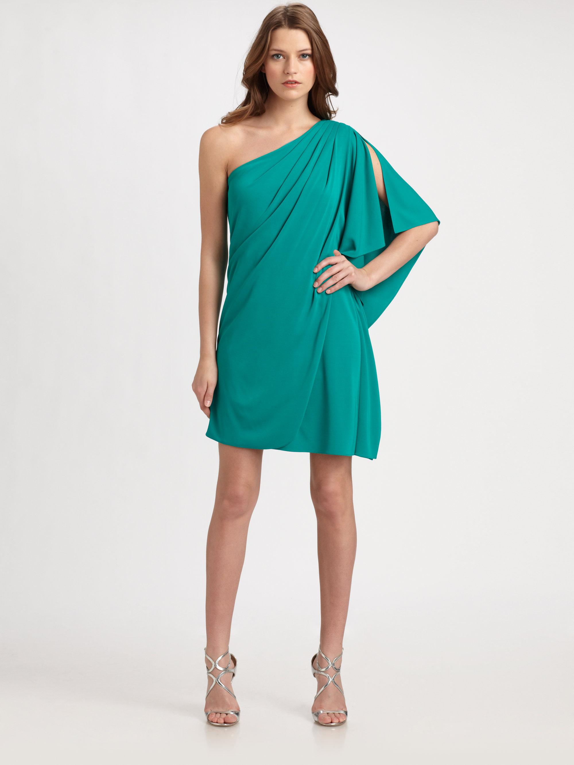 Lyst Badgley Mischka One Shoulder Caftan Dress In Green