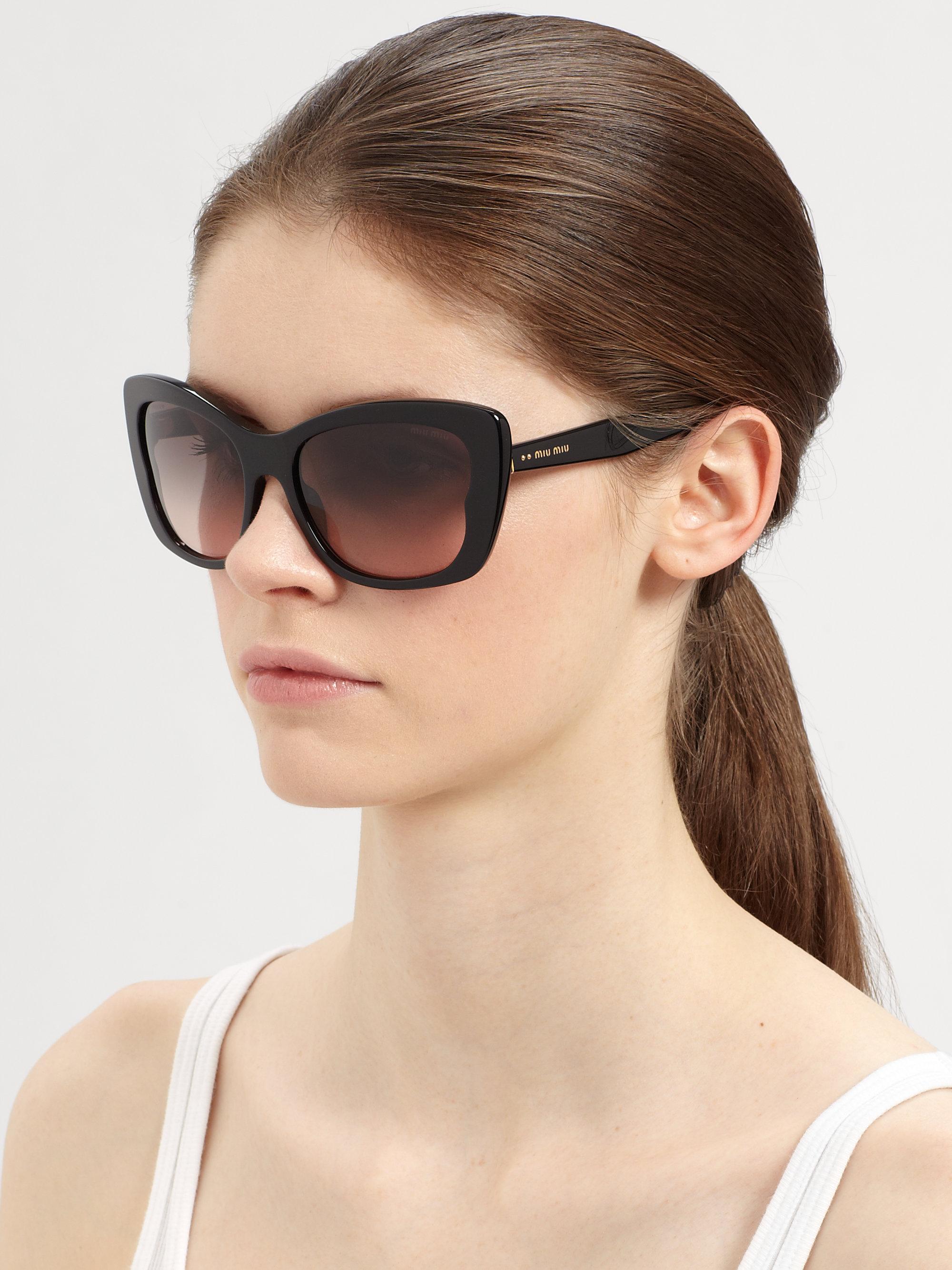 fd817495437 Lyst - Miu Miu Oversized Acetate Butterfly Sunglasses in Brown