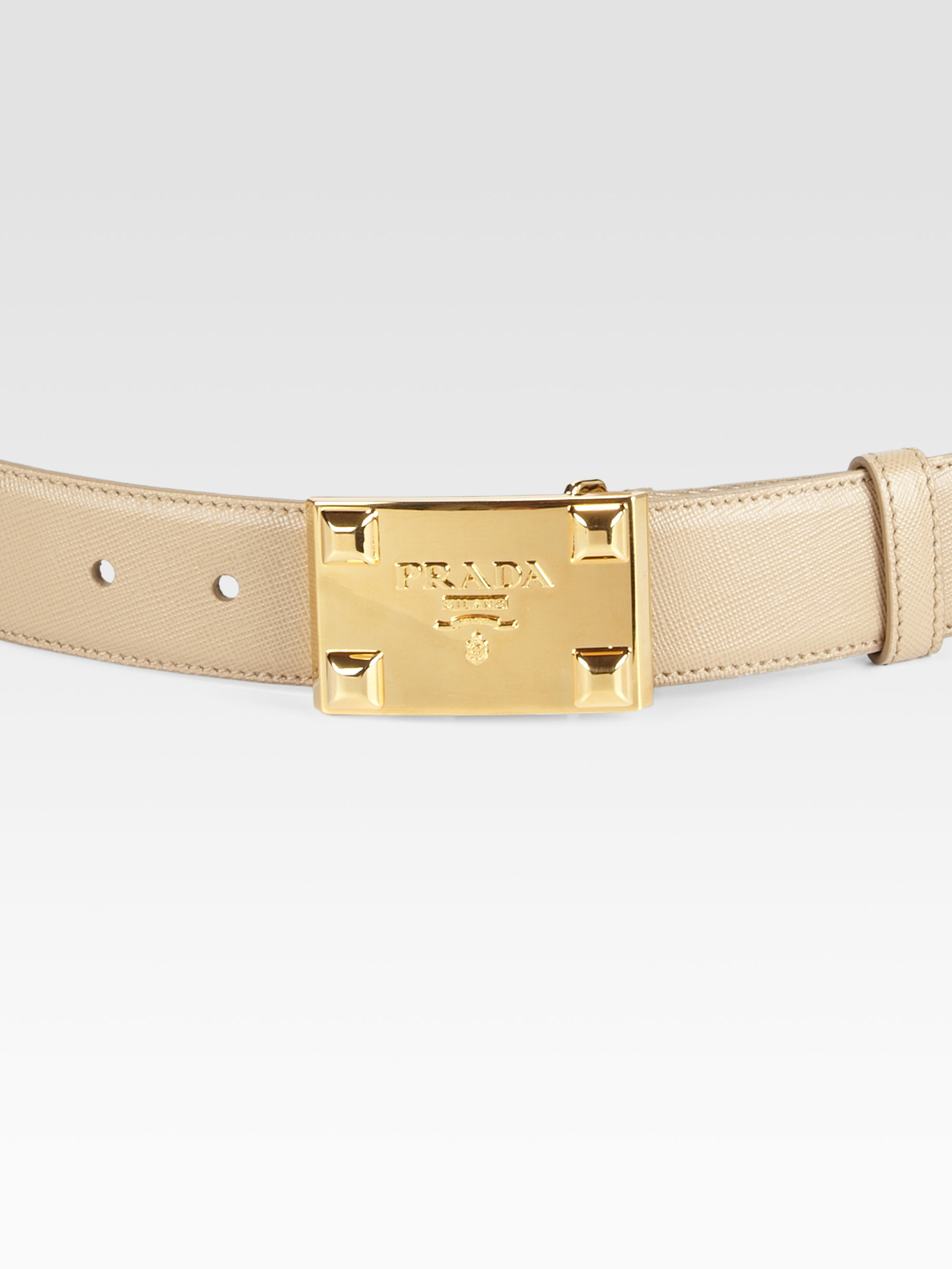Prada Leather Logo Belt in Beige | Lyst