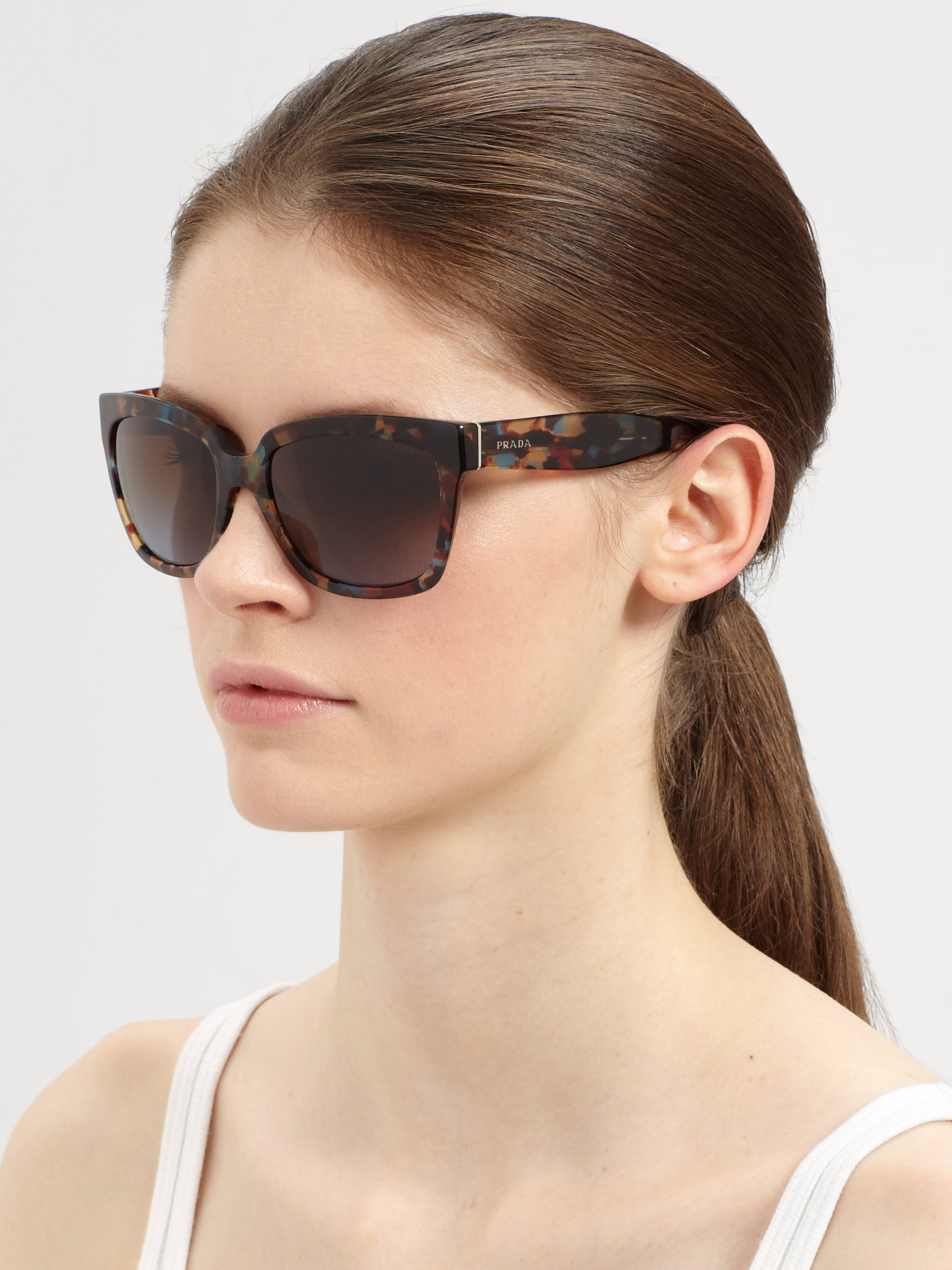 7b6c2804c74 Lyst - Prada Women s Confetti Square Sunglasses - Black in Black