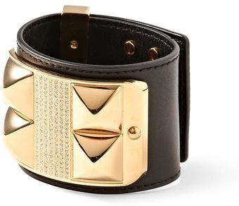 Rebecca Minkoff Studded Pavé Leather Bracelet - Lyst