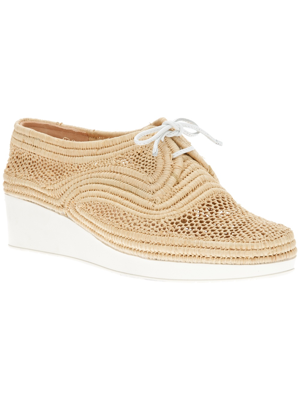 robert clergerie vicole wedge lace up shoe in beige