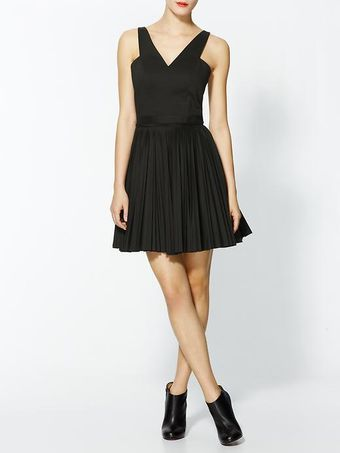 Robert Rodriguez Pleated Cut Out Dress - Lyst