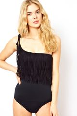 Seafolly Jazz Club Asymmetrical Swimsuit in Black - Lyst