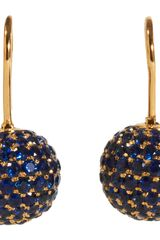 Shamballa Jewels Pave Sapphire Ball Drop Earrings