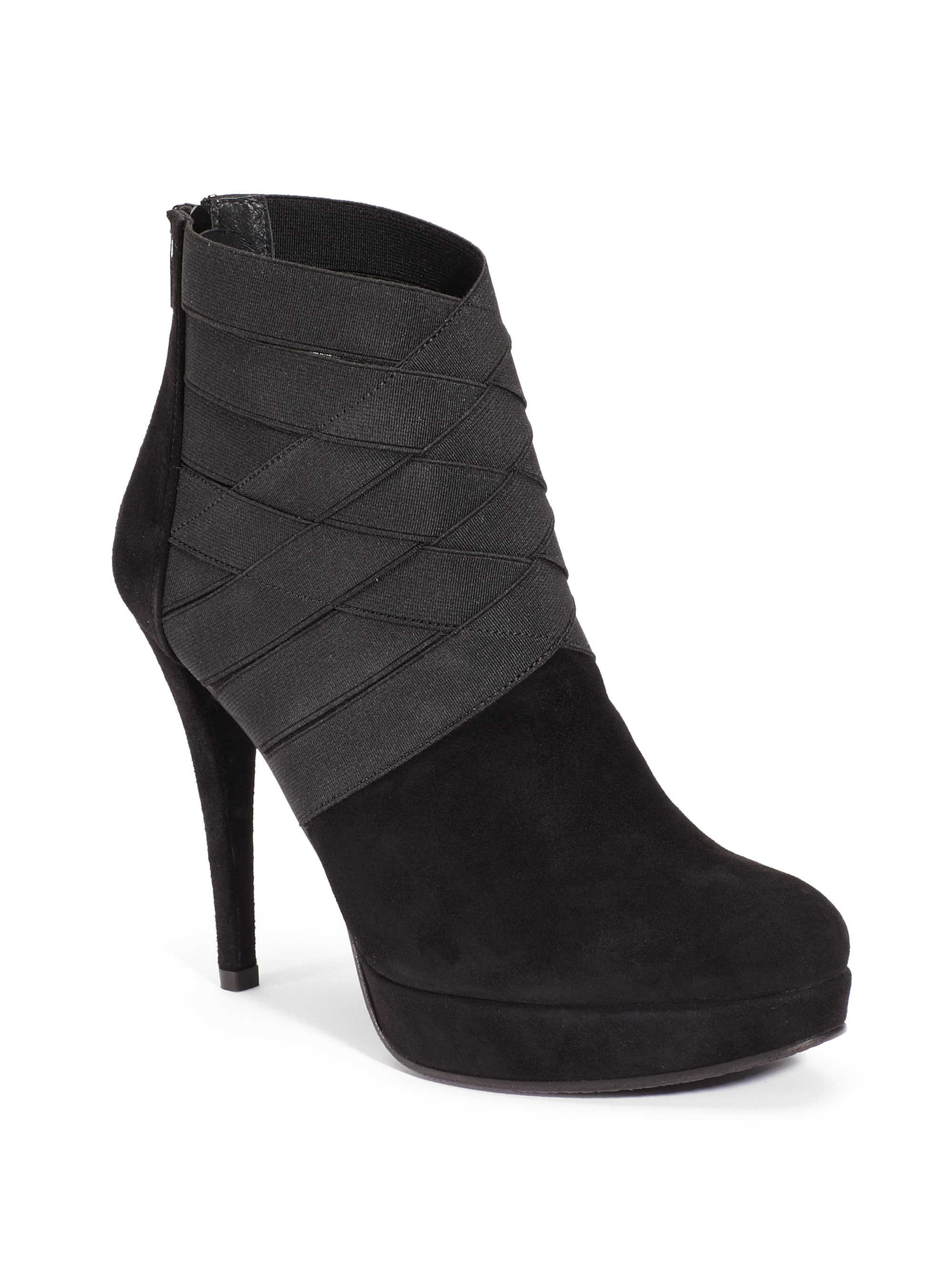 stuart weitzman papoose suede ankle boots in black lyst