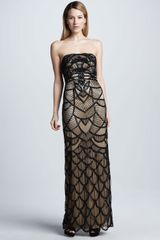 Sue Wong Scalloped Strapless Gown in Black (black/nude) - Lyst