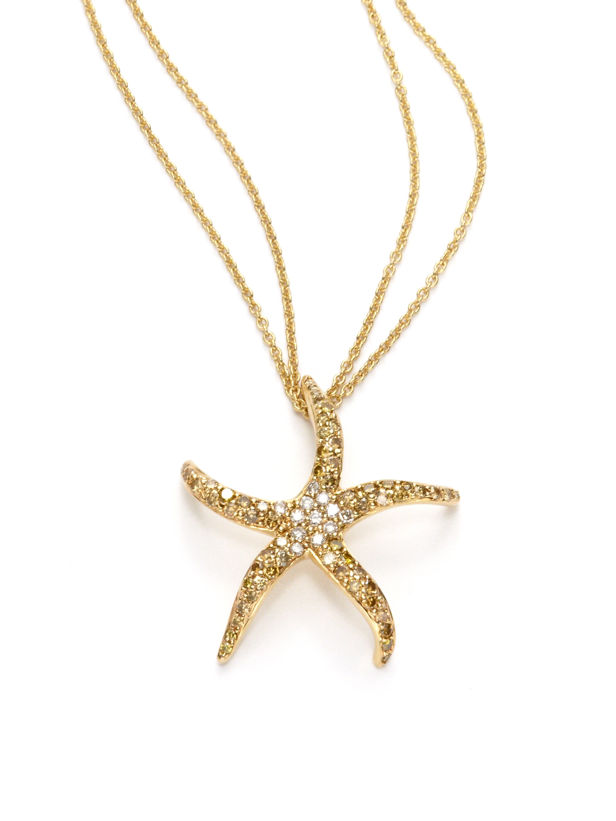 sydney evan starfish pendant necklace in yellow