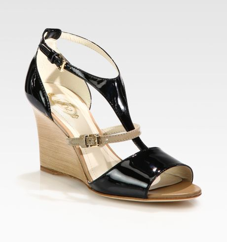 Tod S Bicolor Patent Leather Wedge Sandals In Black Beige